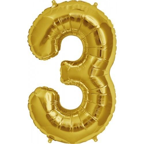 Фольгированная цифра 3 золото