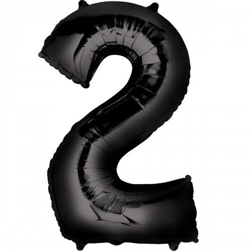 Фольгированная цифра 2 черная