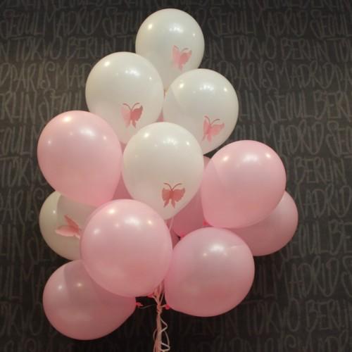 Гелиевые шарики (белый, розовый + бабочки) 15шт