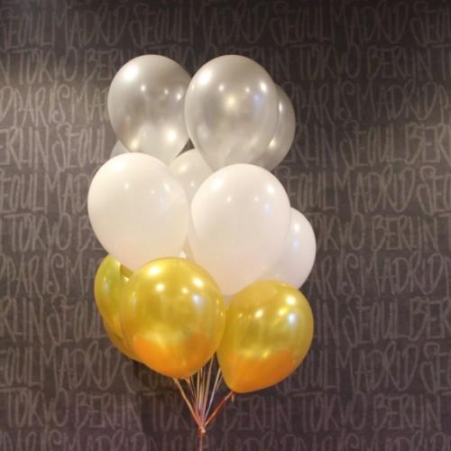 Гелиевые шарики (серебро, золото, белый) 15шт