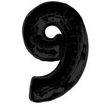Фольгированная цифра 9 черная