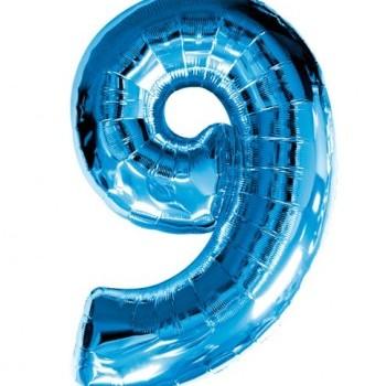 Фольгированная цифра 9 синяя