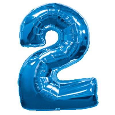 Фольгированная цифра 2 синяя