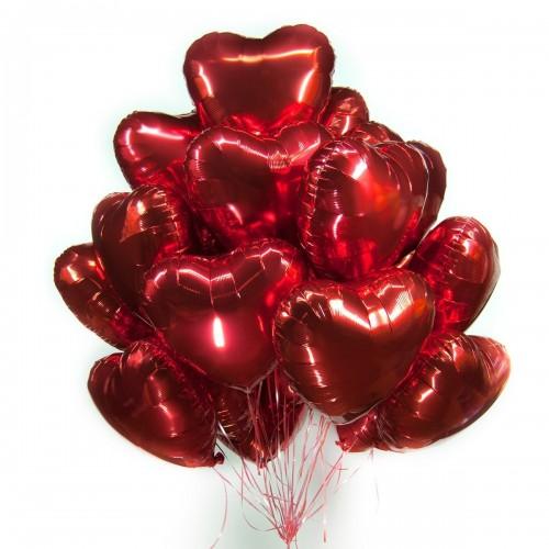 Связка из 21 фольгированного сердца