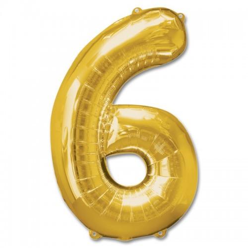 Фольгированная цифра 6 золото