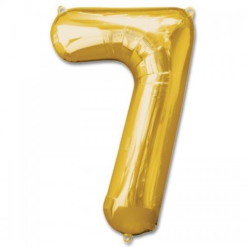 Фольгированная цифра 7 золото