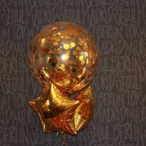 Композиция гелиевый шар-гигант с конфетти и звезды