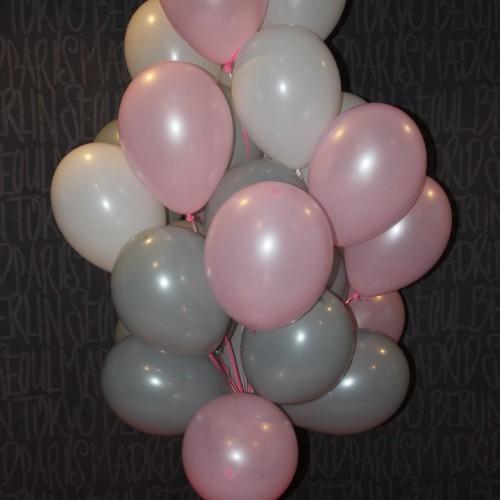 Шарики (розовый,серый,белый) -15шт