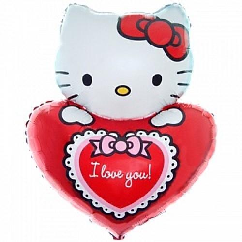 Фольгированная фигура - Китти с сердечком «I Love You»
