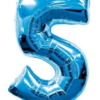 Фольгированная цифра 5 синяя