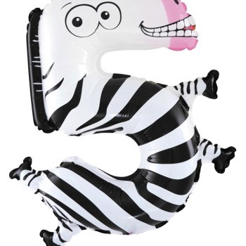 Фольгированная цифра 5 зебра