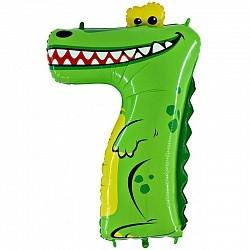 Фольгированная цифра 7 крокодил
