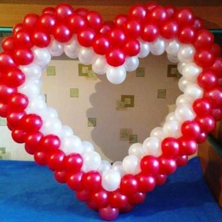 Сердечко красно-белое