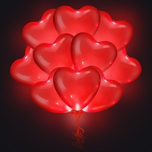 Шарики Сердце с гелием и  диодом - 44см( 1 шт )