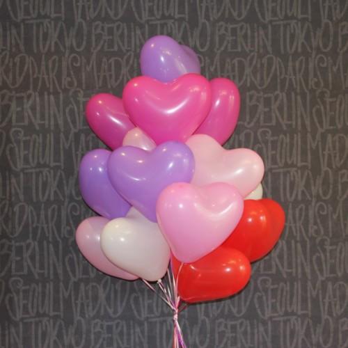 Гелиевые шары в виде сердца - ассорти -15шт