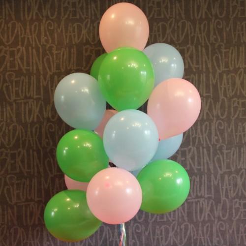 Шарики с гелием (розовый, голубой, зеленый) 15 шт.