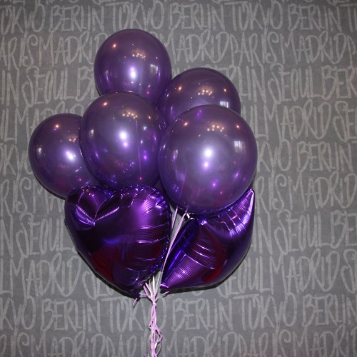 Шарики фиолетовые+фольга