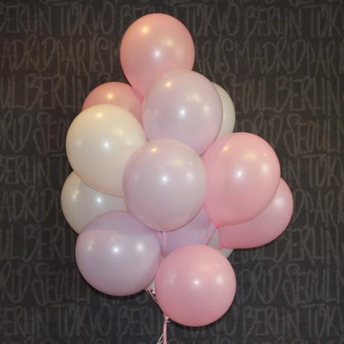 Шарики (розовый,сиреневый,белый) 15шт