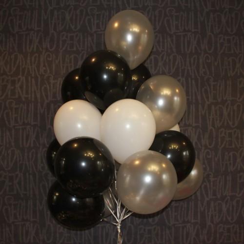 Шарики (серебро,черный,белый) 15шт