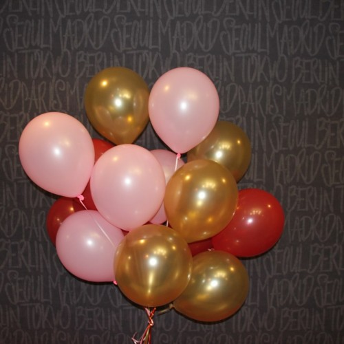 Гелиевые шары (розовый, золотой, красный) 15шт