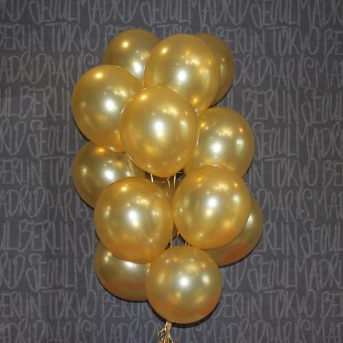 Шарики с гелием -  золотые 15шт