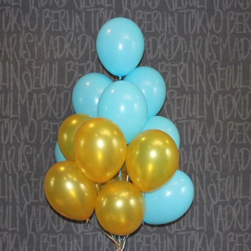 Шарики (голубой,золотой) 15шт