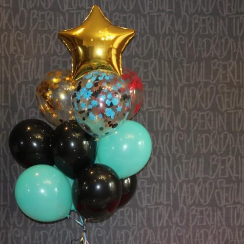 Композиция с фольгированной звездочкой, конфетти и шариками