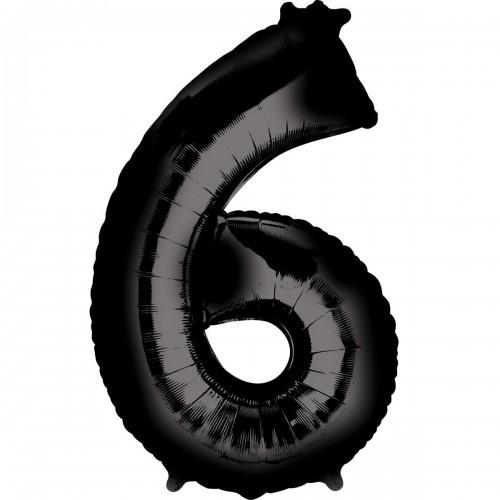 Фольгированная цифра 6 черная