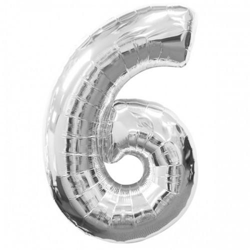 Фольгированная цифра 6 серебро