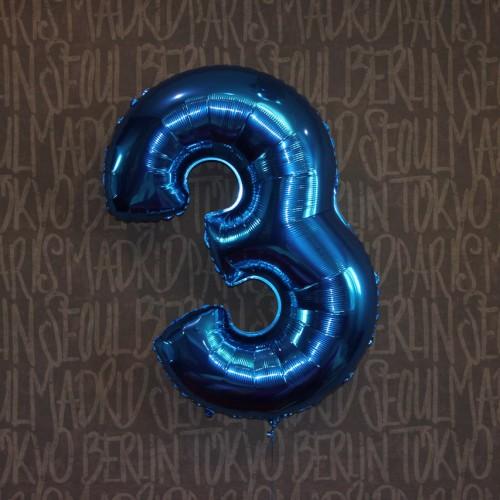 Фольгированная цифра 3 синяя