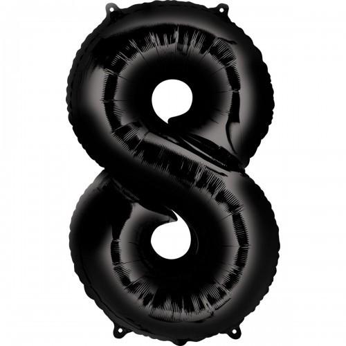 Фольгированная цифра 8 черная