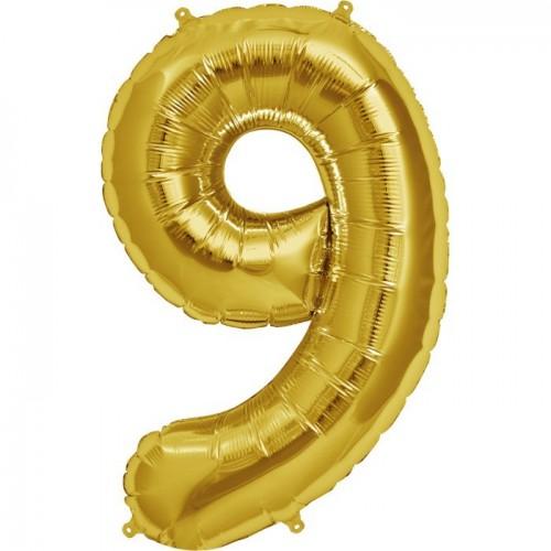 Фольгированная цифра 9 золото