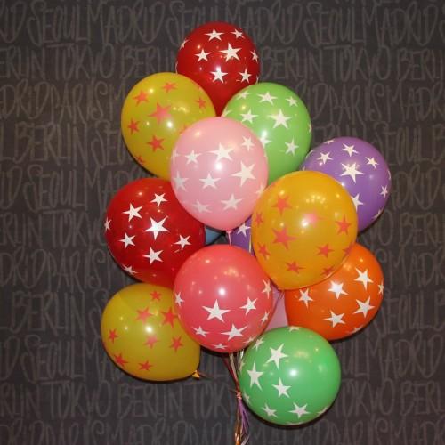 Гелиевые шарики латексные - звезды 15шт