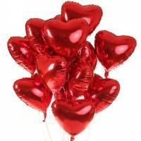Фонтан из 15- фольгированных сердец