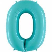 Фольгированная цифра 0 аквамарин