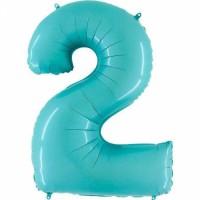 Фольгированная цифра 2 аквамарин