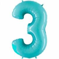 Фольгированная цифра 3 аквамарин
