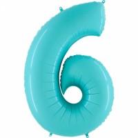 Фольгированная цифра 6 аквамарин
