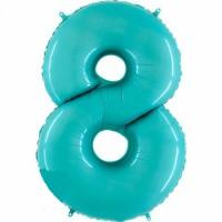 Фольгированная цифра 8 аквамарин