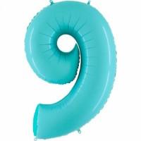 Фольгированная цифра 9 аквамарин