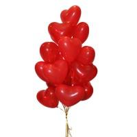 Гелиевые шары в виде сердца - красные -15шт