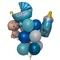 Композиция малыш+шарики 10шт