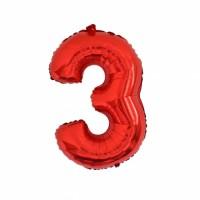 Фольгированная цифра 3 красн