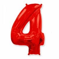 Фольгированная цифра 4 красн