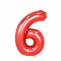 Фольгированная цифра 6 красн