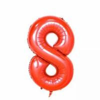 Фольгированная цифра 8 красн