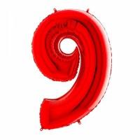 Фольгированная цифра 9 красн