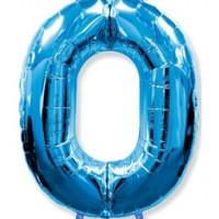 Фольгированная цифра 0 синий