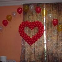Каркасное Сердце и гелиевые шарики аркой