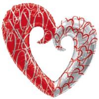 Сердце вензель, красно-белое
